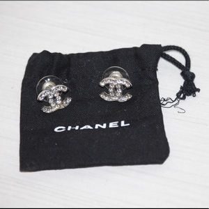 Authentic Chanel classic crystal CC earrings